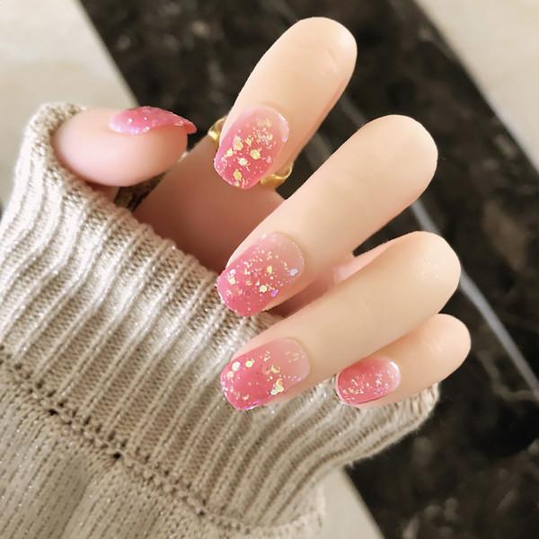 Acheter Les Filles Dété Brillante Couleur Rose Faux Ongles Couverture Complète Conseils Nail Art Dégradé Avec De La Colle De Mariée Mariage Doux