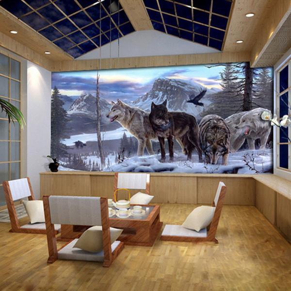 3D Duvar Resimleri Hayvan Duvar Salon Yatak odası Koltuk TV Arkaplan Duvar Kağıdı Kurt Totem Hayvan Fotoğraf Duvar kağıdı Özel Herhangi Boyut