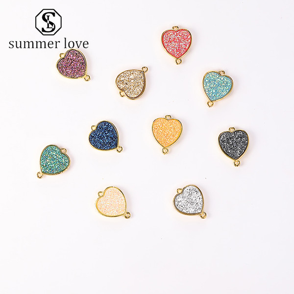 DIY Heart Resin Pendant Gold Charm For Bracelet Bangle Necklace High-grade Color Retention Accessories Jewelry For Women Wholesale -Y
