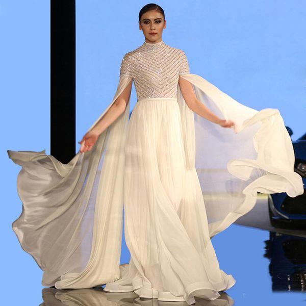 Elegante weiße A Line Abric Abendkleider mit langen Ärmeln und langen Ärmeln aus Pailletten und Perlen Muslim Celebrity Gowns
