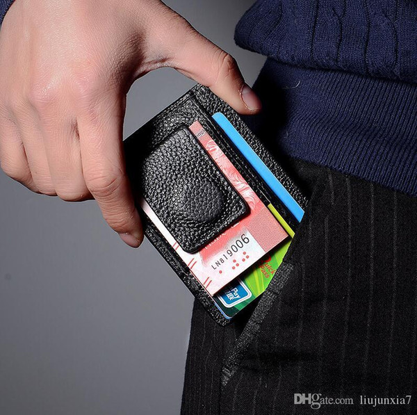 Dólar estadounidense paquete de la tarjeta de clip de cuero simple licencia de conducir funda de cuero hombres y mujeres titular de la tarjeta multifunción logotipo personalizado