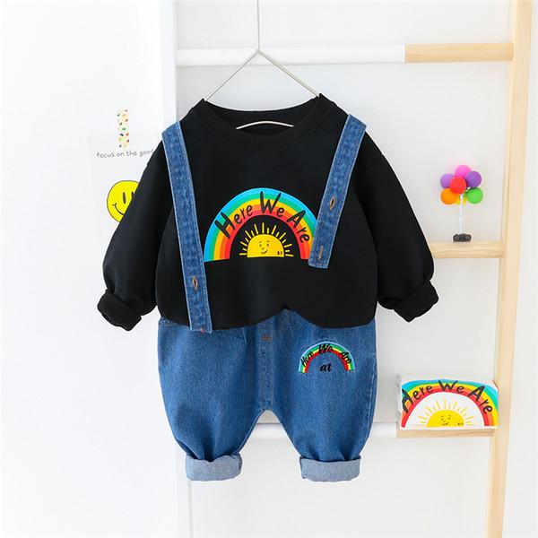 HYLKIDHUOSE 2020 della molla dei ragazzi delle neonate che coprono gli insiemi Arcobaleno T shirt Salopette Jeans Bambino Inafnt vestiti dei bambini per le vacanze Costume