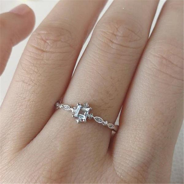 Elegant Woman Cystal Rings Engagement Wedding Ring for Bride Jewelry White Zircon Stone Fashion Couple Gift