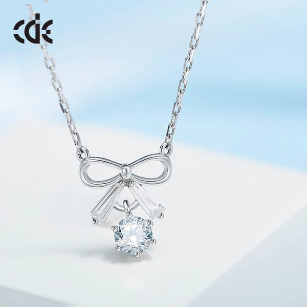 Fête de mariage argent S925 perle perlée cadeau femme dame diamant bijoux colliers pour graduation initiation CDE-400