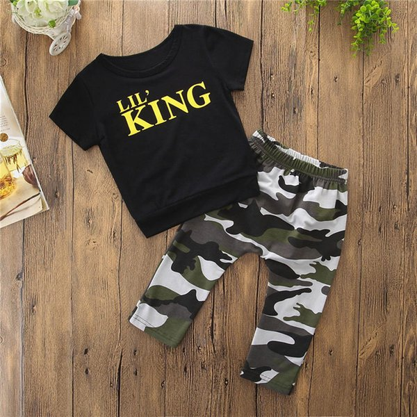 2PCS Baby Boys Sets Toddler Kids Baby Boys Short Sleeve Letter T-shirt Tops+Camouflage Pants Set Baby Boy Clothes M8Y18