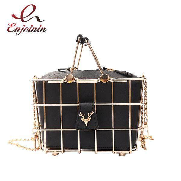 Retro Elegant Deer head metal basket style black pu leather ladies handbag totes party punk bag women's purse shoulder bag #140097
