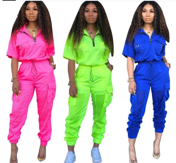 2019 Neon Green Two Piece Set Femmes Survêtement Festival Vêtements Tenues D'été Tops Pantalon Sweat Suit Ensembles Assortis