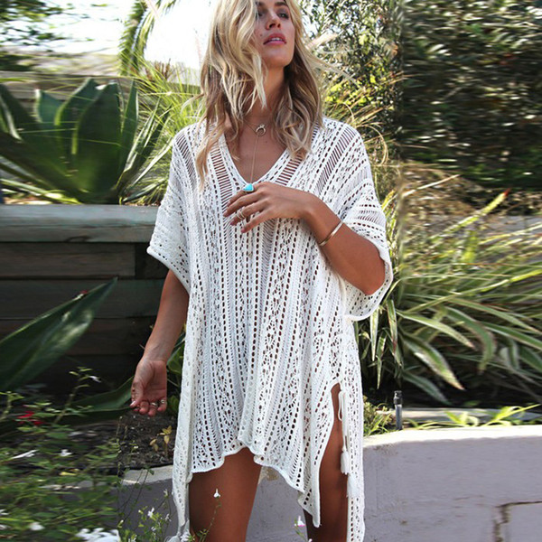 Europa América Hollow Loose Knit Blusa Sexy Bikini Beach Vacation Swimsuit Sun Protection Clothing Mujeres Coat Beach Dress