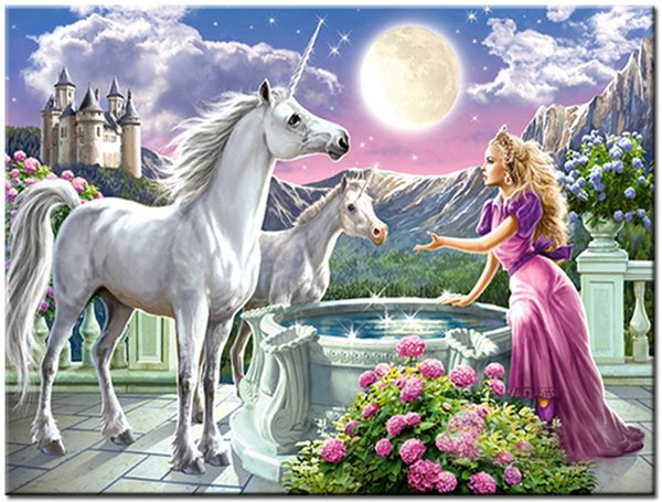 "best selling Kits Paint Adult Hand Painted DIY Painting By Numbers Oil Paint-Beauty and unicorn 16""x20"""
