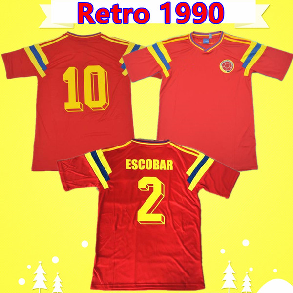 # 10 Valderrama # 9 Guerrero Colombie 1990 Rétro classique de maillot de football rouge commémore la collection antique maillot de football Vintage