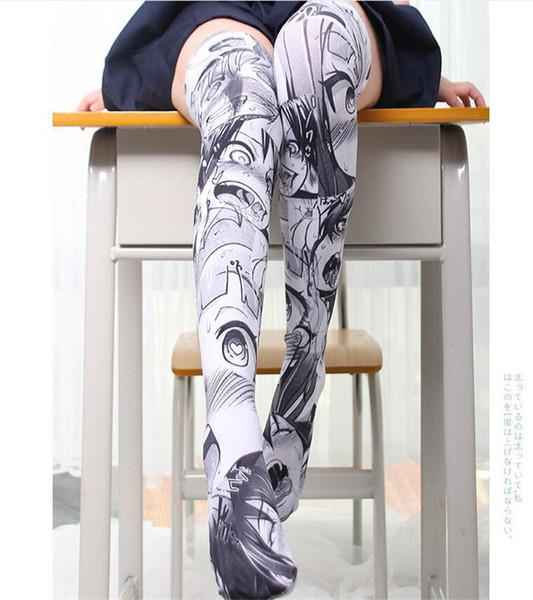 Anime lovely Thigh High Sock Caricature Cartoon Figure Printing Stocking Disfraces de Cosplay Accesorios Fancy Socks Velvet