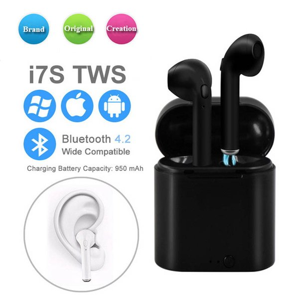 Bluetooth Headphones I7 I7S TWS Twins Air Earbuds Pods Mini Wireless Earphones Headset with Mic Stereo V4.2 for Android with Retail Box