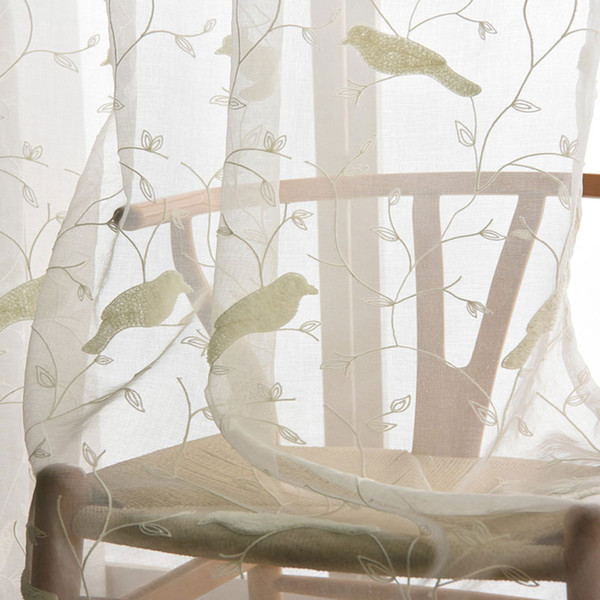 2019 Bird Pattern 3D Embroidery Drape Sheer Curtain Fabric Tulle Voile  Curtain Window Rustic Fresh Cotton Bedroom Curtains From Adeir, $38.7 | ...