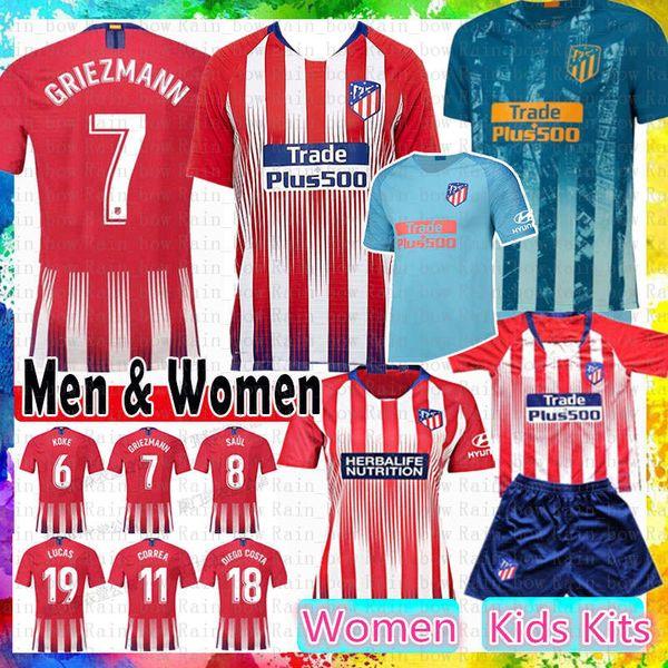 2019 Atletico GRIEZMANN Madrid Soccer Jersey KOKE SAUL GODIN TORRES CORREA Costa Luis GABI Gimenez THOMAS Kids Kits Women Men football shirt