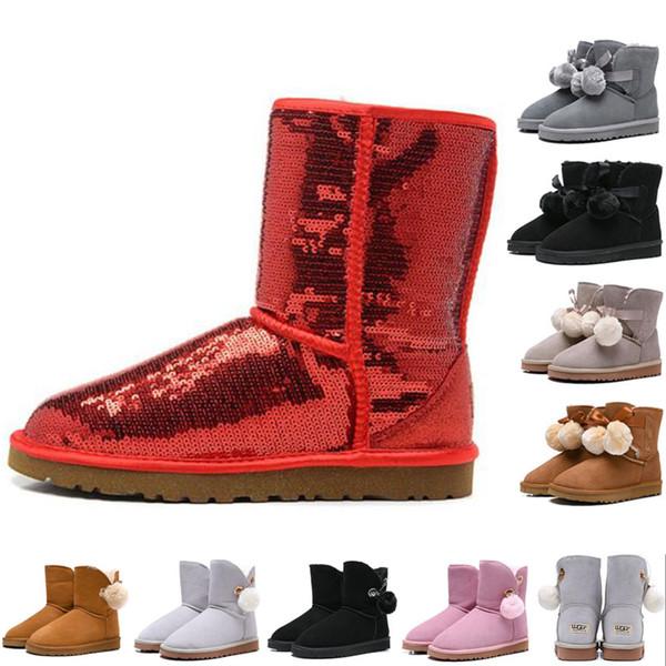 Moda kadınlar için WGG klasik çizmeler ayakkabı mavi renk gri renk altın renk tasarımcı kar kürk çizme kadın ayak bileği çizmeler