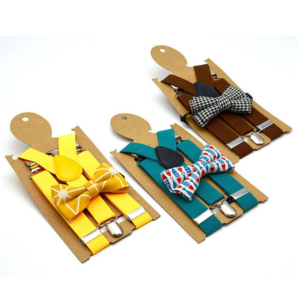 Enfants réglables Suspenders Lattice Mode bébé Couleurs solides Accolades enfants Bracelet clip coloré avec Bow Tie TTA1327-6