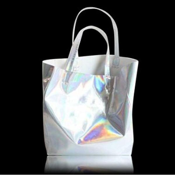 Designer SUNNY BEACH Hologram Laser Shoulder Bag Women Silver Female Harajuku Big Tote Girl Handbags Bolsas Lady Bag Big Size Tote Bags