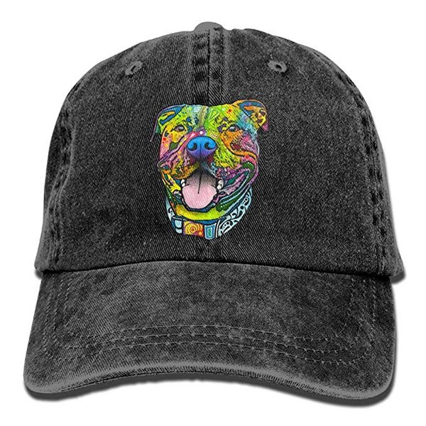 2019 New Custom Baseball Caps Print Hat High quality Pit Bull Mens Cotton Adjustable Washed Twill Baseball Cap Hat