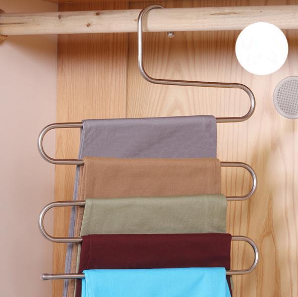 home Racks Hangers Stainless steel trousers rack Multi-layer magic non-slip S-type pants clip hanger multi-function wardrobe storage J44