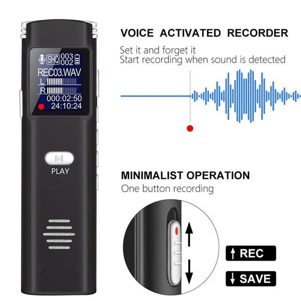 Professional Smart noise reduction Digital Voice Recorder 8GB Portable HD mini Dictaphone MP3 player with real-time Display in retail box