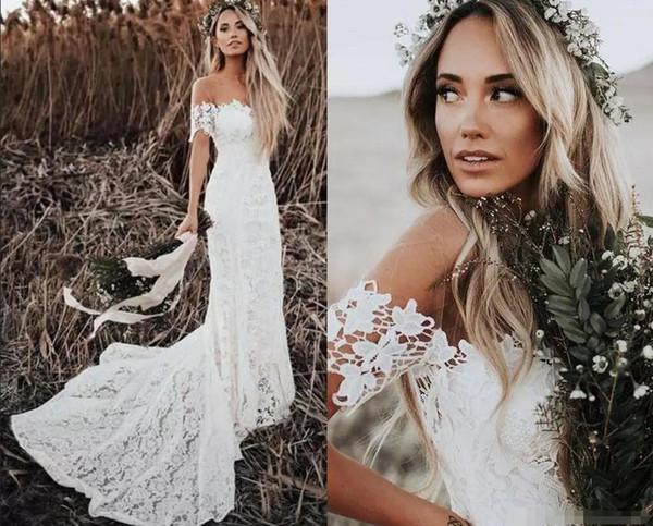 Elegante Boho Vestidos De Casamento Rendas 2019 Estilo Country Fora Do Ombro Mangas Curtas Vestidos De Noiva Vestidos De Casamento Da Praia Trem Da Varredura