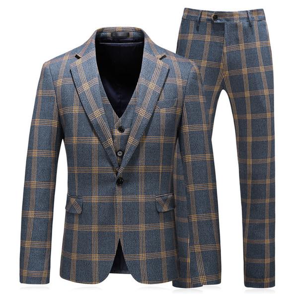 2019 Erkekler Düğün Slim Fit Mariage Resmi Tasarımcılar Için Suits Erkekler Giysi Sonbahar S-5xl Ekose Pantolon Ve Yelekler Ile Erkek Takım Elbise T2190605
