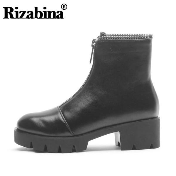 RIZABINA Véritable En Cuir Femmes Cheville Bottes Zipper Classique Sheos Femmes De La Mode Plate-Forme Bureau Lady Base Chaussures Taille 33-40