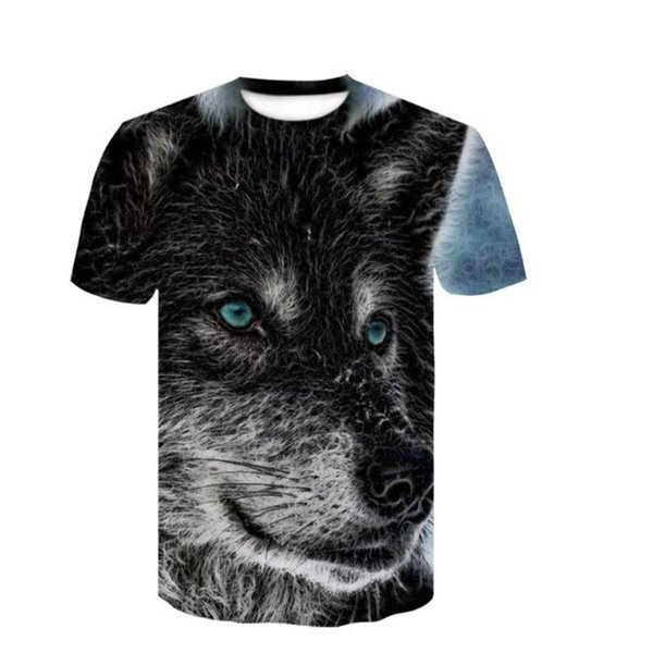 2019 latest Wolf head 3D printed animal T-shirt short sleeve summer round collar T-shirt