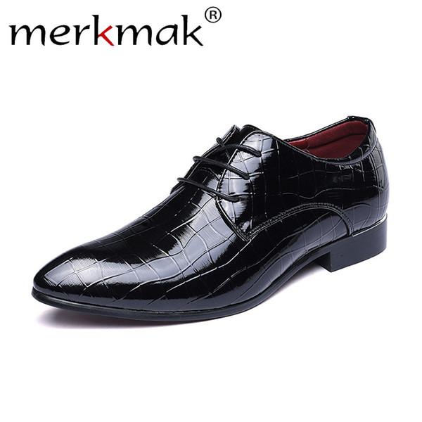 Merkmak Leather Men Shoes Summer Oxfords Big Size 38-48 Shoes For Male Lace Up Pointed Formal Business Dress Men's Flats