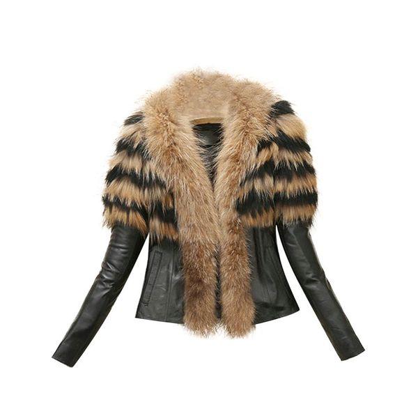 Free Ostrich Coat PU Leather Winter Jacket Faux Fur Collar Soft Thick 2018 Parkas Warm Outwear L0740