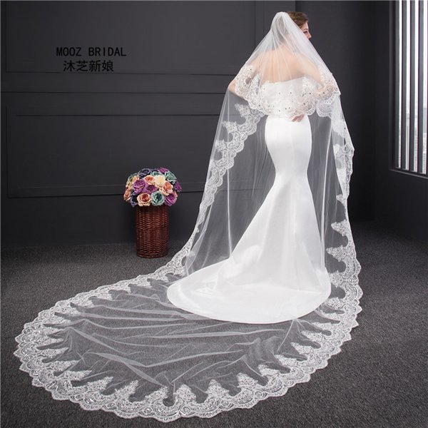 Bridal Veil Cathedral Length Lace Edge Real Pictures BeadsCrystals Decoration 2T 3M Bling bling Wedding Veils Covered Face