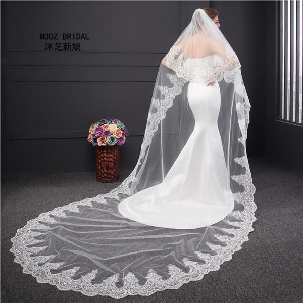 Véu De Noiva Comprimento Da Borda Do Laço Real Pictures BeadsCrystals Decoração 2 T 3 M Bling bling Véus De Casamento Coberto Rosto