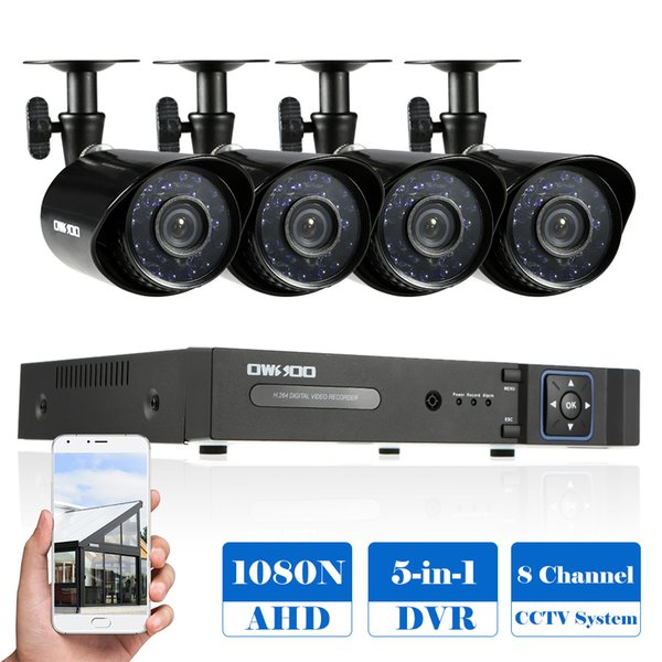 OWSOO 8CH 1080P Híbrido Digital Video Recorder + 4 * Sistema + 4 * 60 pés de Vigilância Cable CCTV Camera Waterproof CCTV IR 720P AHD