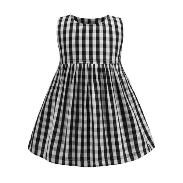 Vendita al dettaglio di ragazze abiti bambina plaid nero abito senza maniche in cotone principessa gonna per bambini gonne casual per bambini boutique di abbigliamento di moda