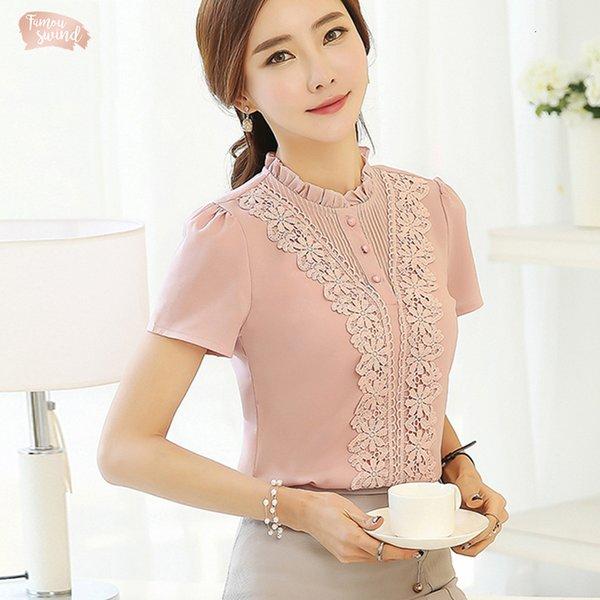 2019 mujeres de color rosa de la manga blusas para mujer de la ropa de moda corto de gasa con volantes cuello camisas dulces para mujer Tops Blusas 37F 30