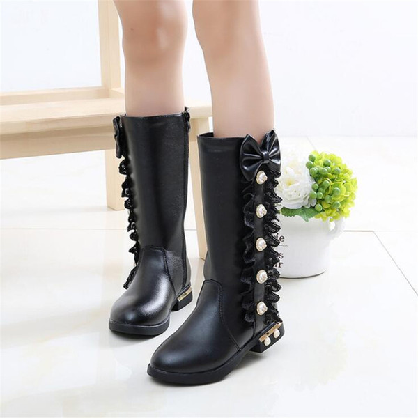 2019 Girls Boots High Quality Winter Children Boots Kids Snow Kids Shoes PU Leather Waterproof Rubber for Girl
