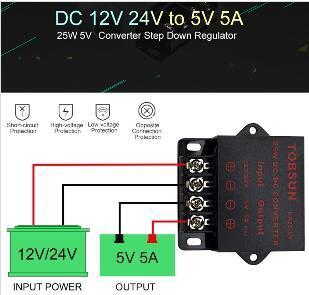 2019 12 V 24 V 5 V 5A 25 W DC DC Dönüştürücü Güç Kaynağı Adaptörü LED Şerit TV Hoparlör için Adım Aşağı Regülatörü Elektronik Trafo Kamera kamera