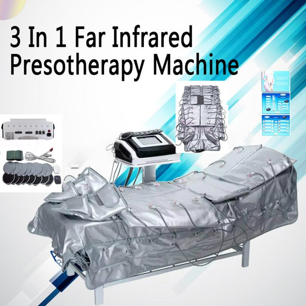 Factory Price !!! Touch Screen 3 IN 1 Pressotherapy Equipment Far Infrared Heated Blanket / Electric Muscle Stimulator for Sale