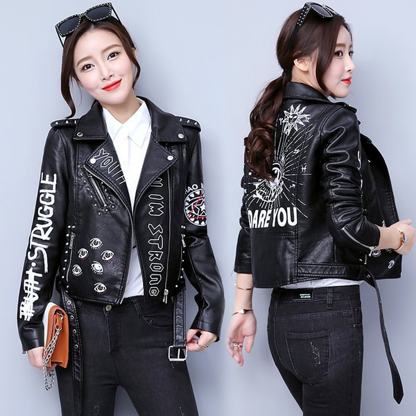 Rivet Faux Leather Jacket Rock Punk Women Moto Coat Black Cheetah Jacket Zipper Streetwear Chaqueta Mujer Chaqueta CharreterasMX190820