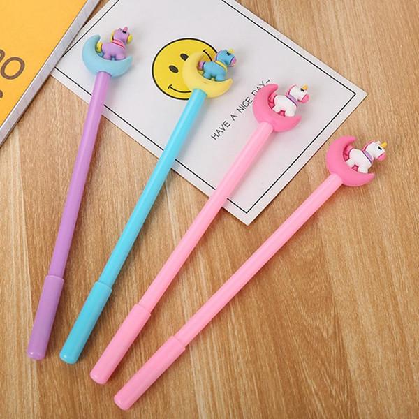 Cute Kawaii Unicorn Gel Pen Creative Moon Unicorn Neuter Pen Kids Funny For Writing Office School Supplies Korea Stationery