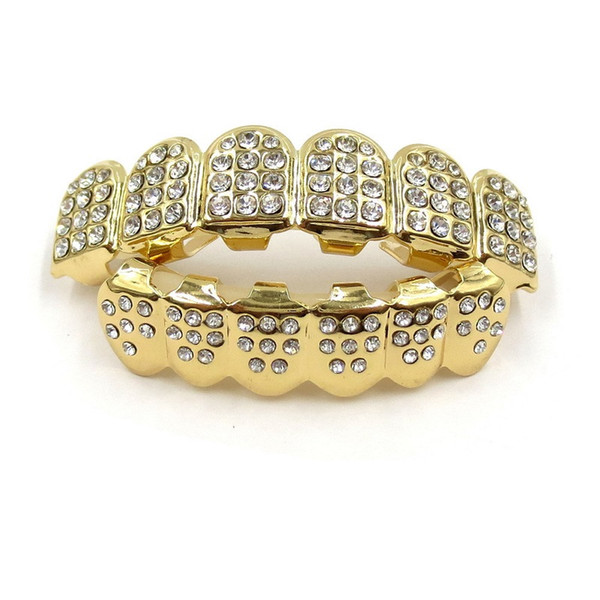 gold teeth grillz rhinestone shiny teeth grills set real gold plated iced out teeth hip hop jewelry