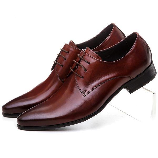 Grande taille EUR45 noir / marron tan mens robe chaussures en cuir véritable chaussures d'affaires formel mariage