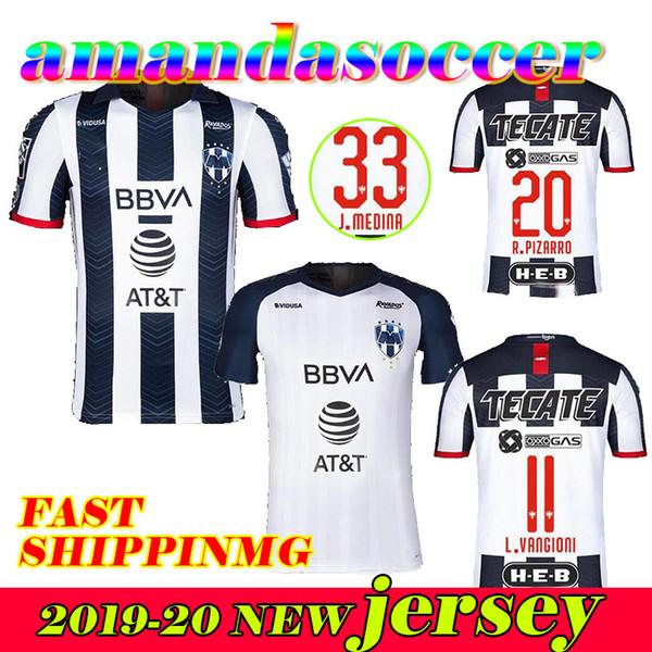 2019 Rayados de Futebol casa V.JANSSEN 9 afastado D.PABON R.FUNES MORI camisas de futebol branco 19 20 Camisa de alta qualidade