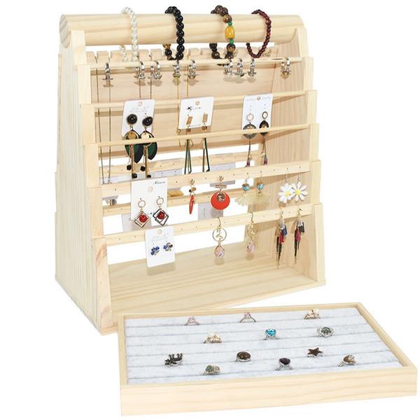 Jade pendiente de la joyería exhibición de la joyería collar de madera Puntales Mostrar Apoyo pulsera anillo de la demostración Soporte de pantallas bandeja