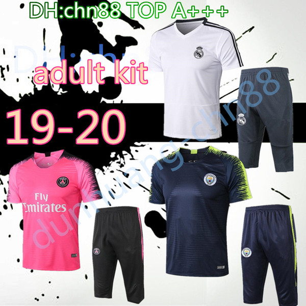 best selling 19 psg real madrid Argentina soccer survetement short sleeves 3 4 pants tracksuit training football shirt kit chandal set