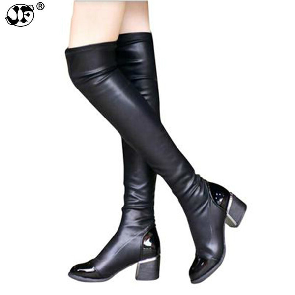 Chic Slim Women Knee High Boots PU Leather Riding Thigh High Boots Black Motorcycle Boots Autumn Winter Women Shoes 866