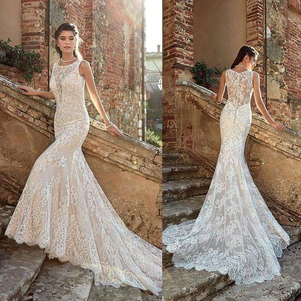 2019 Fashion Wedding Dresses O-Neck Sleeveless Lace Appliques Garden Bridal Gowns Custom Made Sweep Train Mermaid Wedding Dress