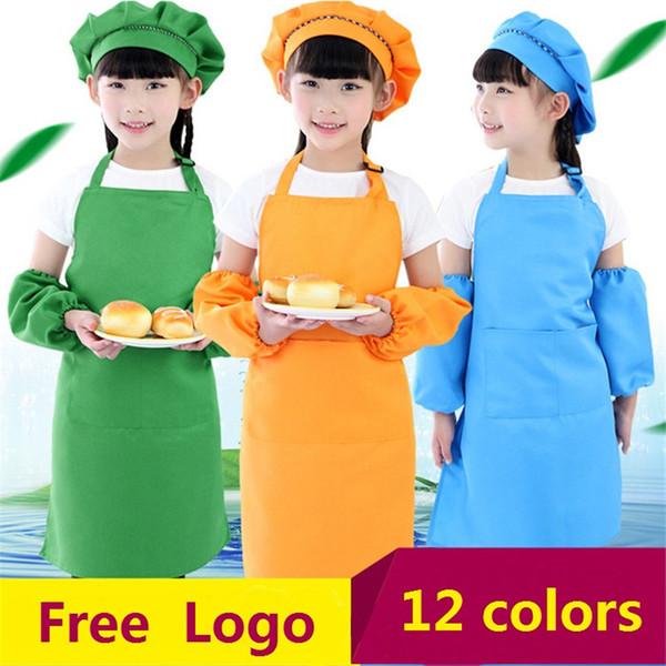 best selling 12Colors Children Kids Apron Pocket Kitchen Cooking Baking Painting Cooking Art Bib Children Plain Apron Kitchen ST676