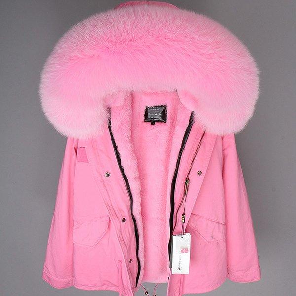 Femmes Marque Parka 2019 Big Real Manteau de fourrure rouge en fourrure de renard col en fausse fourrure doublure camouflage rose court manteau d'hiver Veste de mode New SH190922