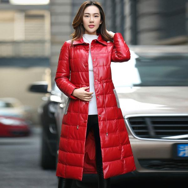 High Quality Genuine Leather Down Jacket Women Long Real Sheepskin Coat Female Winter Jacket Natural Mink Collar Plus Size Z536